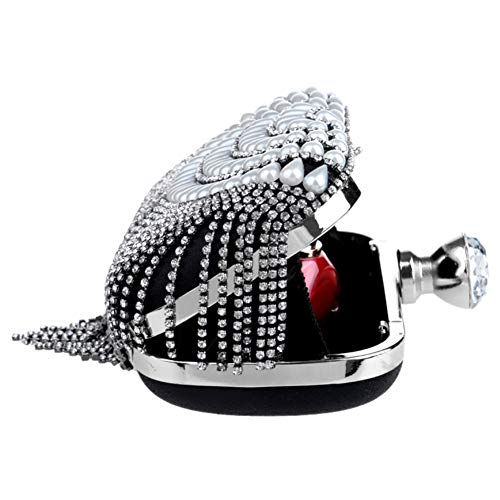 Womens Red Pearls Bead Evening Bags Ladies Dress Outfit Wallet Chain Clutch Wedding Purse Bags OqAXwgI