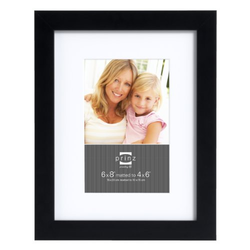 Prinz 6 by 8-Inch Matted to 4 by 6-Inch Gallery Expressions Frame, Black Finish