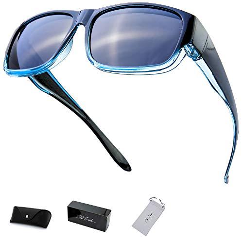 The Fresh High Definition Polarized Wrap Around Shield Sunglasses for Prescription Glasses 66mm Gift Box (410-Black/Blue, Grey)