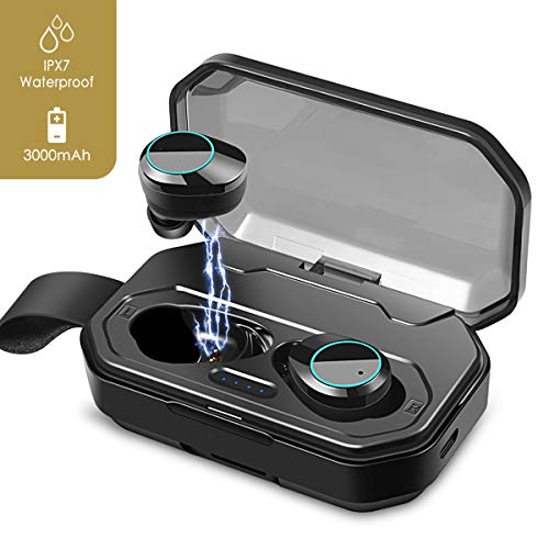 True Wireless Earbuds, 5.0 Stereo Sound Wireless Headphones Touch Control TWS Bluetooth Wireless Sport Earbud Hi-Fi Sound IPX7 Waterproof Earbuds with 3000mAh Charging Case, Noise Cancelling Wireless
