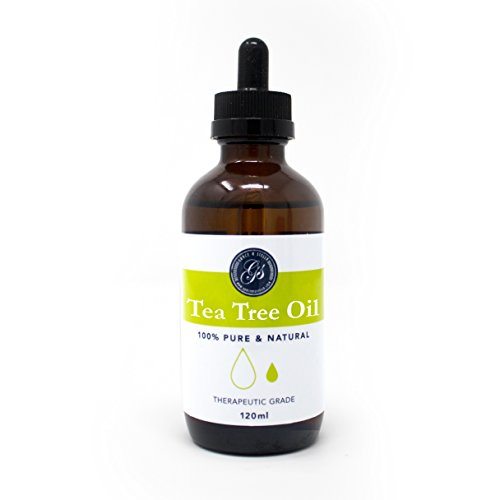 100% Pure & Natural Tea Tree Essential Oil (4 fl oz) - LARGE w/ Dropper - Great for Massage Therapy, Bath Soak, Aromatherapy, Skincare, Home Fragrance, Relaxation & Improving Sleep – Therapeutic Grade