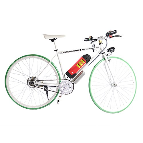 ELECTRIC Fixie Bike 350W 33MPH Alien Motor Wheels TM (WHITE/GREEN/WHITE/RED)