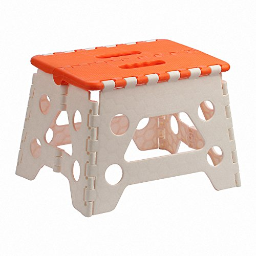 Folding Step Stool for Kids and Adults,9'' Height, 300lbs Capacity,Orange and White. by M.C.