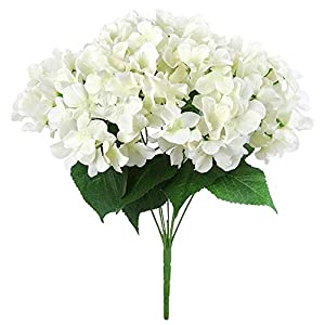 MARJON FlowersSilk Artificial Flowers 7 Big Head Hydrangea Bouquet for Wedding, Room, Home, Hotel, Party Decoration, Cream 89