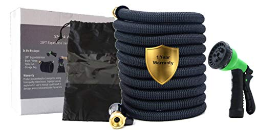 Shark Industrial 25ft Expandable Garden Hose with Double Latex Core, 3/4″ Solid Brass Fittings, Extra Strong 3750D Fabric Flexible Expanding Hose with 8 Mode Spray Nozzle and Storage Bag