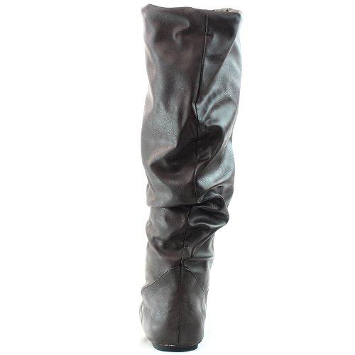 Womens Fahrenheit Izo-02 Leiligheter Knee High Fashion Sko Brun Pu