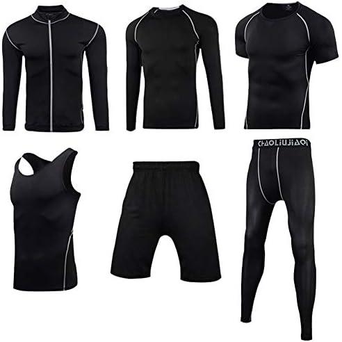 ファッション タイトフィット速乾性服、長袖、ジャケットフィットネス服、ランニングジムトレーニング服6ピーススーツ、スポーツスーツ、男性 エレガント
