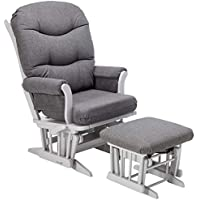 Dutailier Sleigh Glider with Multiposition, Recline and Ottoman Combo, Grey/Dark Grey