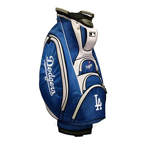 Team Golf MLB Los Angeles Dodgers Victory Golf Cart Bag, 10-way Top with Integrated Dual Handle & External Putter Well, Cooler Pocket, Padded Strap, Umbrella Holder & Removable Rain Hood