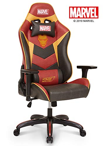 Neo Chair Licensed Marvel Iron Man Gaming Chair 400lb High End Ergonomic Neck Lumbar Support 4D Adjustable Armrest Recliner Computer Desk Office Executive Premium Leather Racing Chair, Red