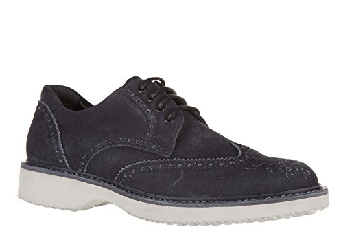 Hogan Mens Classic Suede Lace up Laced Formal Shoes Nuove Derby h 217 Route Blu NaZulr0rc