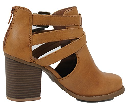 Pu With Scribe B Bootie Out 10 US Womens Design Heel Ankle Tan Rub And Cut Low Soda M Side UIAq4
