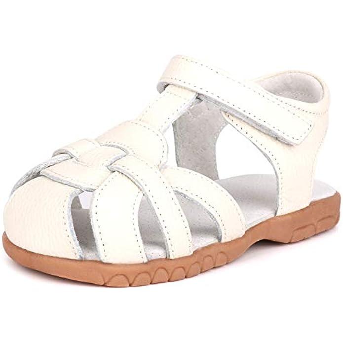 LONSOEN Girl's Genuine Leather Sandals Closed-toe Princess Dress Sandal Shoes