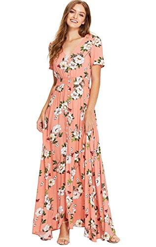 Milumia Women's Button Up Split Floral Print Flowy Party Maxi Dress Pink-2 X-Small