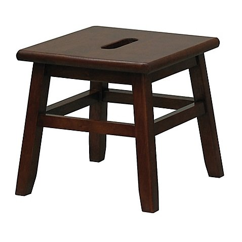 Porter Slotted Top Step Stool in Walnut Measures 12