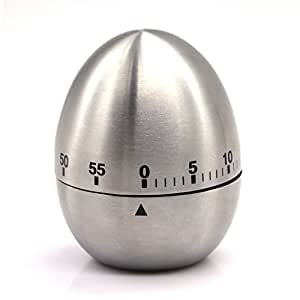 (Iberi) eBerry kitchen timer stainless steel analog clockwise battery-free operation simple egg-shaped silver