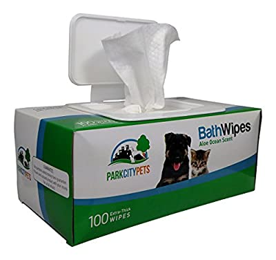 Park City Pets - Dog & Cat Grooming Wipes - Large Hypoallergenic Bath Wipes - 100 count - Eco-Friendly Box