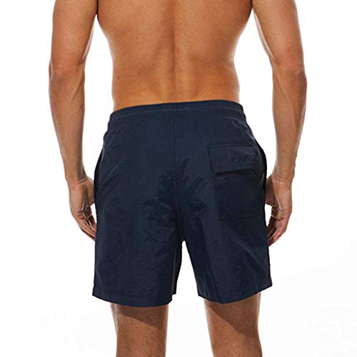 F_Gotal Men's Swim Trunks Quick Dry Board Shorts Solid Waist Swimming Shorts with Pockets Beach Swimwear Bathing Suits Navy by F_Gotal Mens Swimwear (Image #1)