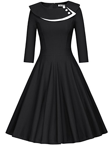 MUXXN Women's 1960s Classic High Waist Cocktail Party Dress (Black XL) -