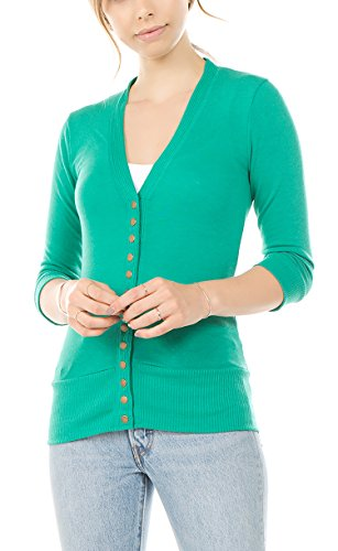 Vialumi Women's Solid 3/4 Sleeve Cardigan with Ribbed Details Green Medium