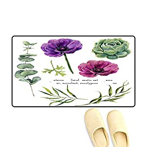 Door Mats for Inside Watercolor Exotic Floral Elements Set Vintage Leaves Eucalyptus Succulent an Anemone Flowers Isolate on White backgroun 82