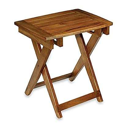 Amazon.com: Folding Shower Stool with Slatted Seat and Crossed Legs ...