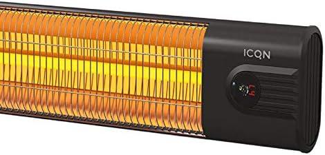IP 34: Wasser- und Staubschutz Thermal Serie ITC2500.R schwarz Infarotstrahler ICQN Kohlenstoff Heizstrahler 2500 Watt mit Fernbedienung Infarotheizung f/ür Innenbereich