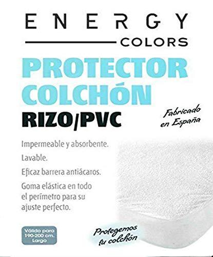 Protector colchón cama 150 x 200cm + 25cm IMPERMEABLE* ABSORBENTE* LAVABLE* ANTI-ACAROS* AJUSTABLE* GOMA EN TODO SU PERÍMETRO* RIZO Y PVC (pack TOBILLEROS ...
