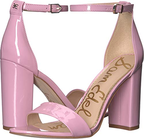 - Sam Edelman Women's Yaro Ankle Strap Sandal Heel Pink Orchid Patent 9 W US