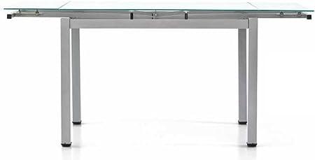 Tavolo In Ferro E Vetro.Tavolo Allungabile Con Struttura In Ferro Verniciato Grigio E