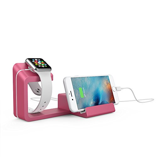 Element Works 2 Device Dual 2-in-1 Charging Dock & Charging Stand for Apple Watch & iPhone Bedside Charging Station (Pink) - Elements Stand