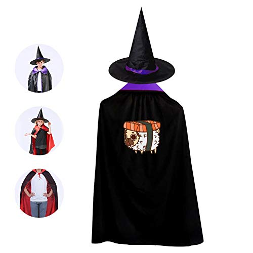 Love Sushi Cosplay Cloak Wizard Witch Cape Pointy Cap Reversible Ponchos For Kid Halloween Party -
