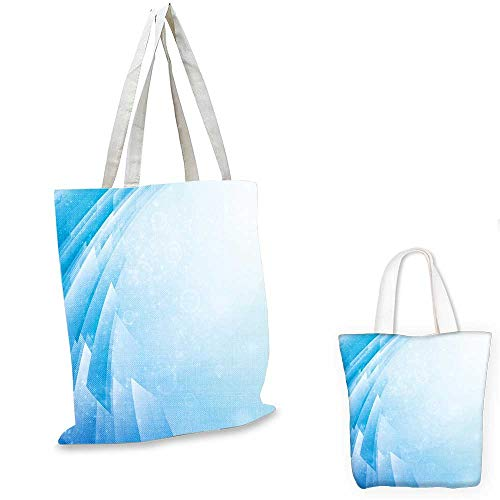 "Abstract canvas laptop bag Ocean Inspired Aquatic Design Fractal Shapes Curve Little Dots Energy Flow small tote shopping bag Aqua Light Blue. 12""x15""-10"""