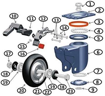 金属プレートキャスターホイール4ゴムベーストロリースイベルキャスターのセット、安全なデュアルロック、ノイズホイールなし、ロイヤルブルー防錆コーティングプロセス、上部プレートとベアリングヘビーデューティー(5インチ/ 125 mm、固定)