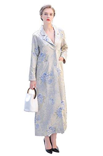 Coat Silk Floral (VOA Women's Elegant Silk Blue Floral Print Dress Hoddie Straight Coat)