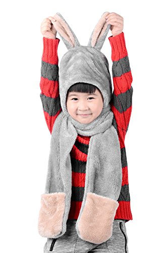 (Baby Scarf Warm Winter Scarf + Hat Cute Animal for boys,girls by MissDill, Gray, 3-10 years old)
