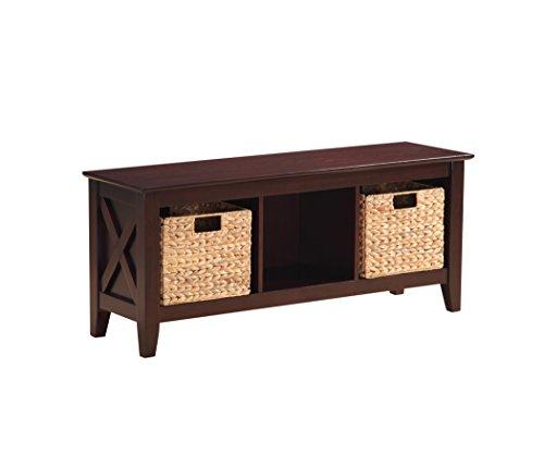 Stylistics Gabriel Wooden Storage Bench with Baskets, 48