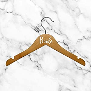 Set of 6 Vinyl Art Decals – Bride Bridesmaid Maid of Honor – from 0.5″ to 3″ Each – Modern Elegant Trendy Chic Wedding Accessory Bridal Clothes Dresses Hanger Decorations (White)