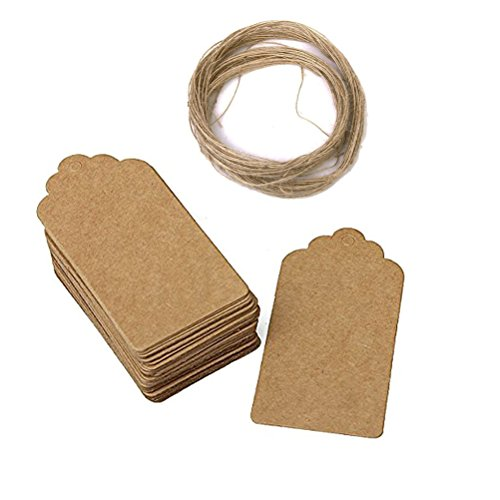 Pixnor 50pcs 4590mm Kraft Paper Gift Tags Christmas Gift Tags Wedding Brown Rectangle Kraft Hang Tags Bonbonniere Favor Gift Tags with 10 Meters Long for Crafts Price Tags Labels ()