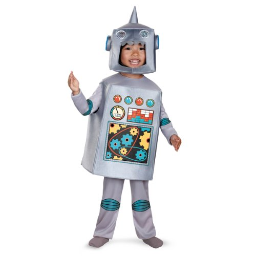 Robot Child Costume (Artsy Heartsy Retro Robot Costume, Silver/Red/Blue/Yellow, Medium)