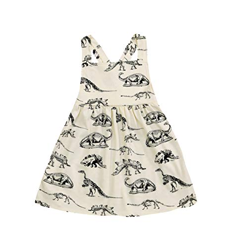 Mini honey Infant Toddle Baby Girls Cotton Dinosaur Print Half Sleeve Skirt Dress Cotton Outfit Clothing (3-4 Years, Beige-Sleeveless)