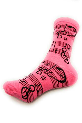 Socks-Women Crew Novelty Comfy Cozy, Trendy, Fashionable and Fun Patterns To Love (MUSICAL NOTES-PINK)