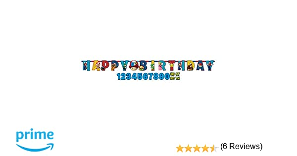 Amscan 121554 1 mx 11 cm super mario Happy Birthday Carta Banner