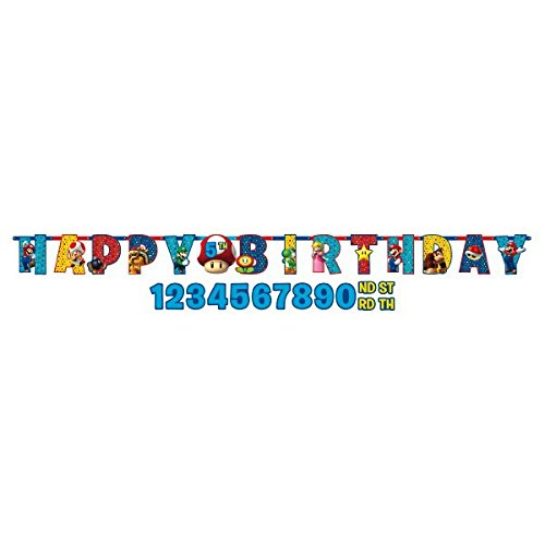 Super Mario Brothers Jumbo Add-An-Age Happy Birthday Letter Banner