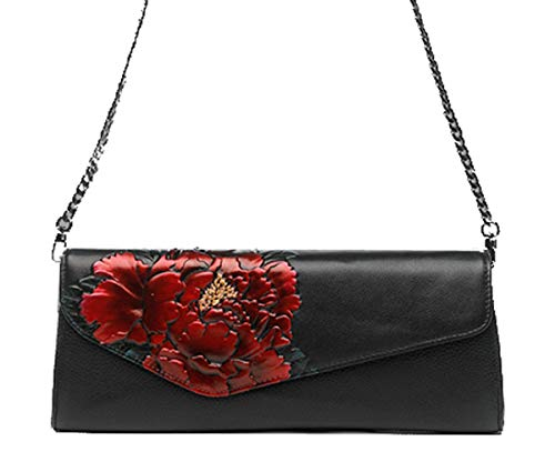 Leather Evening Party Women's Bag Shoulder Evening amp; Wrist Bag Strap Banquet A Strap Wedding Printing Prom Clutch With Flower 5wFqwax