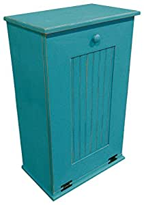 Sawdust city wooden trash bin44 turquoise for Turquoise bathroom bin