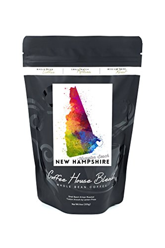 Hampton Beach, New Hampshire - State Abstract Watercolor (8oz Whole Bean Small Batch Artisan Coffee - Bold & Strong Medium Dark Roast w/ ()