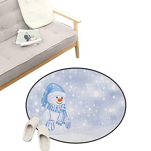 Winter Round Rug ,Kids Toddler Design Happy Snowman Cartoon Style Figure Merry Christmas Theme, Flannel Microfiber Non-Slip Soft Absorbent 47