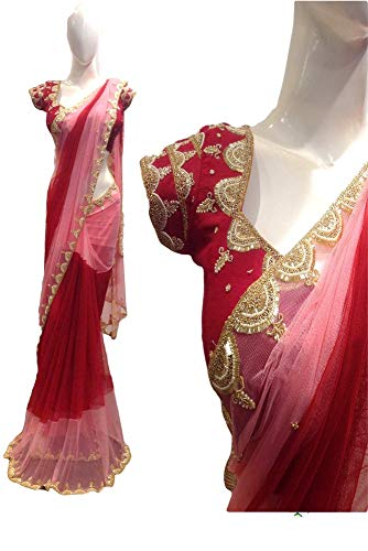REKHA Diwali Festival Saree Embroidery Work Sari Un Stitch Blouse 13