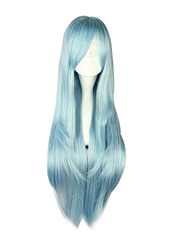 Mtxc Sword Art Online Cosplay Asuna Yuuki Long straight Wig Mixed Light (Blue Asuna Costume)